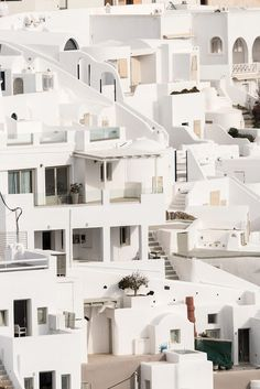 Oia's village in the island of Santorini in winter, Greece by Bisual Studio - Stocksy United Beautiful Buildings, Beautiful Places, Greece Wallpaper, Building Aesthetic, Nights In White Satin, Greece Hotels, Greek Design, White Building, Santorini Greece