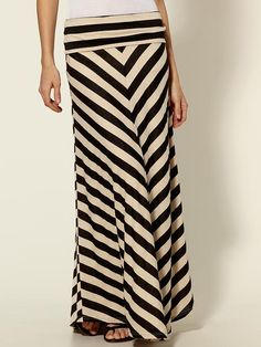 Love this Black and Cream Chevron Stripe Maxi Skirt- Fold over waist = Super Comfy! $49