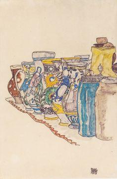 Painted Jugs by Egon Schiele, 1918