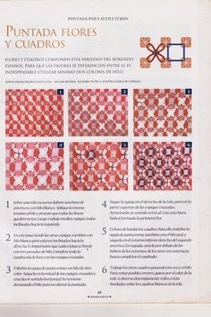 BORDADO ESPAÑOL | Aprender manualidades es facilisimo.com Swedish Embroidery, Sashiko Embroidery, Ribbon Embroidery, Cross Stitch Embroidery, Embroidery Patterns, Chicken Scratch Patterns, Chicken Scratch Embroidery, Gingham Fabric, Applique Quilts