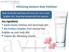 Whitening Moisture Body Exfoliator Body exfoliator promotes cell renewal for lighter and brighter skin. Bright Skin, Key Ingredient, Skin Brightening, Body Scrub, Whitening, Lighter, Moisturizer, How To Remove, Coats