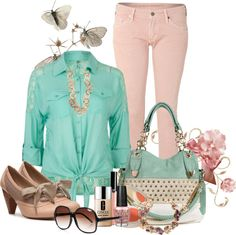 """""""Spring Pastels"""" by snowshoekittens ❤ liked on Polyvore"""