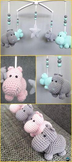 Different Language - Crochet Amigurumi Hippo Mobile Free Pattern - Amigurumi Crochet Hippo Toy Softies Free Patterns Crochet Baby Mobiles, Crochet Hippo, Crochet Mobile, Crochet Baby Toys, Crochet Gratis, Crochet Patterns Amigurumi, Cute Crochet, Crochet For Kids, Crochet Dolls