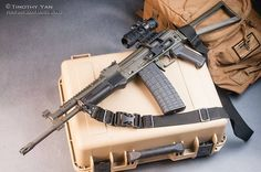 Rifle Dynamics AK with rear mounted optic. The RS Regulate AK300 mount allows the lowest mounting of the ACOG style optic (Burris AR-332 prism sight in the pic) on the AK platform. Photo courtesy of Point & Shoot Media Works.