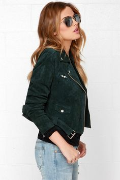 Obey City Moto Forest Green Suede Jacket