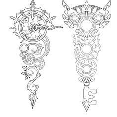 Steampunk/Alice in Wonderland Clock and key