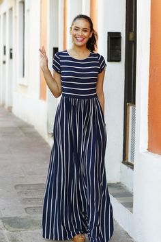 Evalisse Maxi Dress Navy and White by Shabby Apple