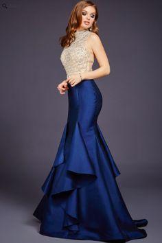 Jovani 29351 Beautiful sleeveless mermaid dress features a high neckline and tiered skirt.