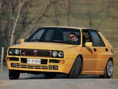 Miki Biasion driving his Giallo Lancia Delta Integrale Evo - Yellow Car Fiat Uno, Maserati, Lamborghini, Automobile, Dream Car Garage, Hatchback Cars, Delta Force, Lancia Delta, Yellow Car