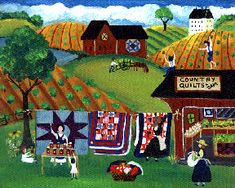 Cheryl Bartley. Country Quilts and Jelly Maker Folk Art Print