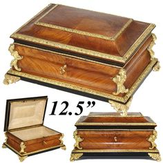 Antique French Tahan? 12.5' Jewelry or Sewing Box, Chest, Kingwood & Figural Gilt Ormolu