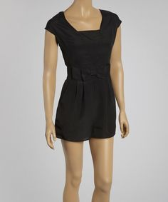 Rubber Ducky Productions Black Pleated Bow Romper - Women by Rubber Ducky Productions #zulily #zulilyfinds