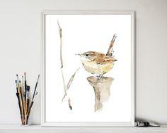 Carolina Wren No. 2 art print,  Wren  watercolor print,bird art, wren art, Bird lover, south Carolina state bird, nursery decor