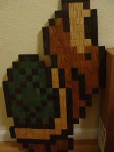 Turtle pixelated wood sculpture