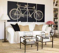 A white bike line art on black artwork.