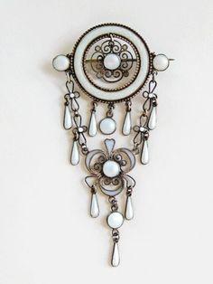 Marius Hammer Plique a Jour Solje Brooch 930 Silver Enamel Norway Antique