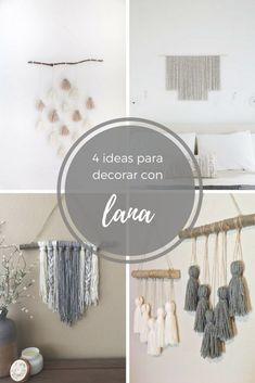 ideas decorar co n lana Macrame Headband, Ideas Para, Diy And Crafts, Sweet Home, Room Decor, Crafty, Gluten, Ideas Geniales, Knitting