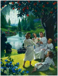 Children in Paradise interact with Jesus. Harry Anderson painting.