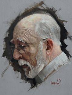 """Max"" - David Kassan, oil on aluminum {contemporary figurative art male head profile grunge elderly bearded man face portrait painting} davidkassan.com"