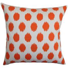 Kaintiba Ikat 22-inch Down Feather Throw Pillow Orange