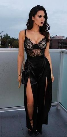 Sparkly Prom Dress, sexy black prom dress, slit side long prom dress, lace prom dress, spaghetti straps prom dress These 2020 prom dresses include everything from sophisticated long prom gowns to short party dresses for prom. Body Suit Outfits, Sexy Outfits, Sexy Dresses, Fashion Outfits, Body Suits, Fashion 2018, Elegant Dresses, Formal Dresses, Prom Dresses Black Lace