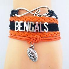 Infinity Love Cincinnati Bengals Football Bracelet