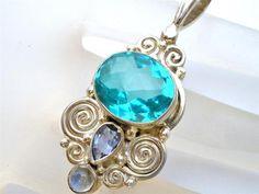 Sajen Blue Topaz Necklace Sterling Silver Pendant Amethyst Moonstone   eBay