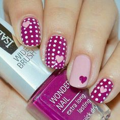 Or you could go for polka dots AND hearts! The variations in this nail art l. - … Or you could go for polka dots AND hearts! The variations in this nail art look really make it - Dot Nail Art, Polka Dot Nails, Pink Nails, Polka Dots, Leopard Nails, Nail Art Designs 2016, Cute Nail Designs, Silver Nail Designs, Ongles Roses Clairs