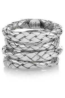 Bottega Veneta Set of four intrecciato sterling silver rings | NET-A-PORTER