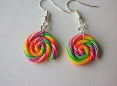 boucle oreille lolipop sucette multicolore blanc coloré fimo bijou gourmand duo bonbon : Boucles d'oreille par fimo-relie