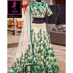 Bollywood Replica -  Wedding Wear Cream & Green  Bhagalpuri Silk Lehenga Choli  - Neerja04