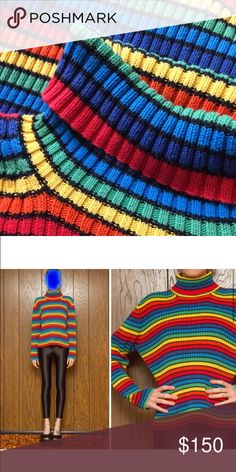 ISO!!! VTG 90s RAINBOW STRIPED TURTLENECK Tommy Hilfiger rainbow striped turtleneck!!! Love this sweater but I couldn't find it recently! Let me know if you have a size L. Thank you for helping!!! 😘 Tommy Hilfiger Sweaters Cowl & Turtlenecks