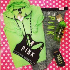 Victoria's Secret PINK Full Zip Hoodie, Sweatshirt LARGE/Neon Green Sold Out! #VictoriasSecretPINK #FullZipHoodieSweatshirt