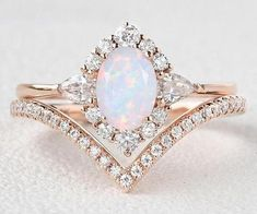 Dream Engagement Rings, Engagement Ring Settings, Vintage Engagement Rings Opal, Vintage Opal Rings, Opal Diamond Engagement Ring, Different Engagement Rings, Opal Promise Ring, Stacked Engagement Ring, Most Beautiful Engagement Rings