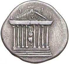 Denario - argento - Roma (95-96 d.C. Domiziano) - fronte di tempio a 8 colonne su podio con statua centrale seduta, frontone decorato con acroteri - Münzkabinett Berlin