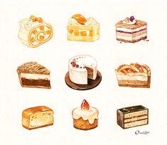 My name is omiso. Desserts Drawing, Dessert Illustration, Illustration Art Drawing, Chibi Kawaii, Cute Food Art, Cute Food Drawings, Food Sketch, Watercolor Food, Aesthetic Food