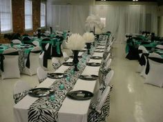 Turquoise & zebra print wedding! This was one of my favorite weddings to do & with only 3 weeks of planning ♥
