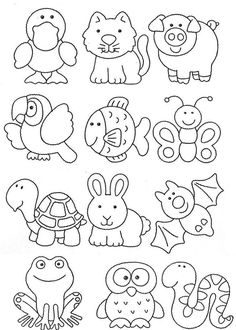 Animal seedlings, drawings and others to print - Animal seedlings, drawings and others to print - Art Drawings For Kids, Drawing For Kids, Animal Drawings, Easy Drawings, Art For Kids, Colouring Pages, Coloring Books, Hand Embroidery, Embroidery Designs