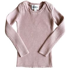Sylfaen skinny rib top in extra-fine merino wool, with ribbed long-sleeves by Mabli in a sweet blush.
