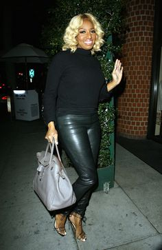 Nene Leakes kept it sleek in black upon arriving at Mr. Chows in L.A.  Housewives 98a87a0698