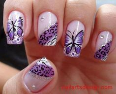 Nail Art with purple butterflies and animal prints #dreamart #fav #advanced