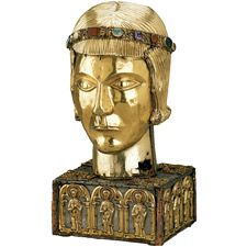 Fragments of the skull of St Eustace were housed in a 'head' intended to produce in the worshipper an image of the venerated saint. This particular head has been associated with St Eustace since 1477. According to legend, Eustace was a general under the emperor Trajan (reigned AD 98-117) who was converted to Christianity while hunting, after seeing a vision of a stag with a luminous crucifx between its antlers.