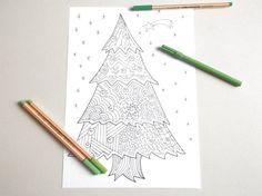 christmas tree adult coloring book kids di LaSoffittaDiSte su Etsy