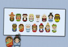 For the Mini People around the World series, a cross stitch pattern that features 15 different nationalities in their typical dresses!  CROSS STITCH PATTERN DETAILS: Stitches: 151x62 Size (with 14 count Aida fabric): 27,5x11 cm – 10.8x4.3 in  With purchase, youll receive a download link with: A PDF pattern with colors and symbols A Symbol Key page in DMC / Anchor floss code  -----------------------------------------------------------------------------------------------------  This is an ...