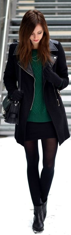 Love the tights with the black skirt and green sweater. Not into the boots, though. Id switch them for boots of a different material.