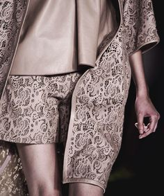 Laser Cut Fashion - lasercut leather lace coat & shorts in soft taupe - elegant fashion details; decorative surface patterns