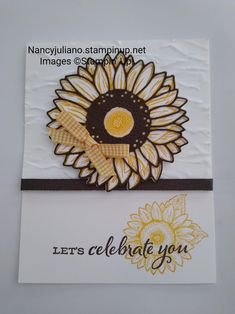 Sunflower Cards, Floral Card, Die Cut Cards, Lets Celebrate, Stamp Sets, Happy Birthday Cards, Stampin Up Cards, Jars, Stamping