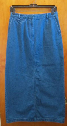 TALBOTS Denim Jean Skirt Womens Size 8 Modest Conservative Straight Back Slit  #Talbots #StraightPencil