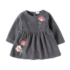 Plus Velvet Winter Baby Dress 2017 New Arrival Long Sleeve Baby Girls Clothes Flower Casual Newborn Dress Baby Girl Dress Patterns, Dresses Kids Girl, Baby Dress, Little Girl Fashion, Toddler Fashion, Kids Fashion, Winter Baby Clothes, Baby Winter, Kids Ethnic Wear