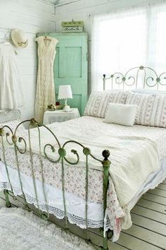 Iron bed and mint green cabinet?? Yes, please. Aiken House and Gardens shabby bedroom Flower Arrangements And Romantic Decor by fougere